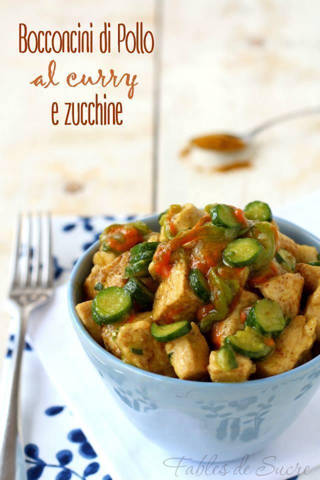 Bocconcini di pollo al curry e zucchine