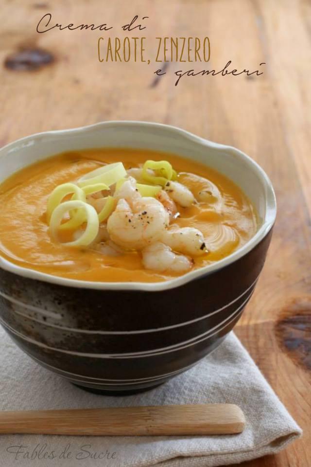 Crema di carote zenzero e gamberi