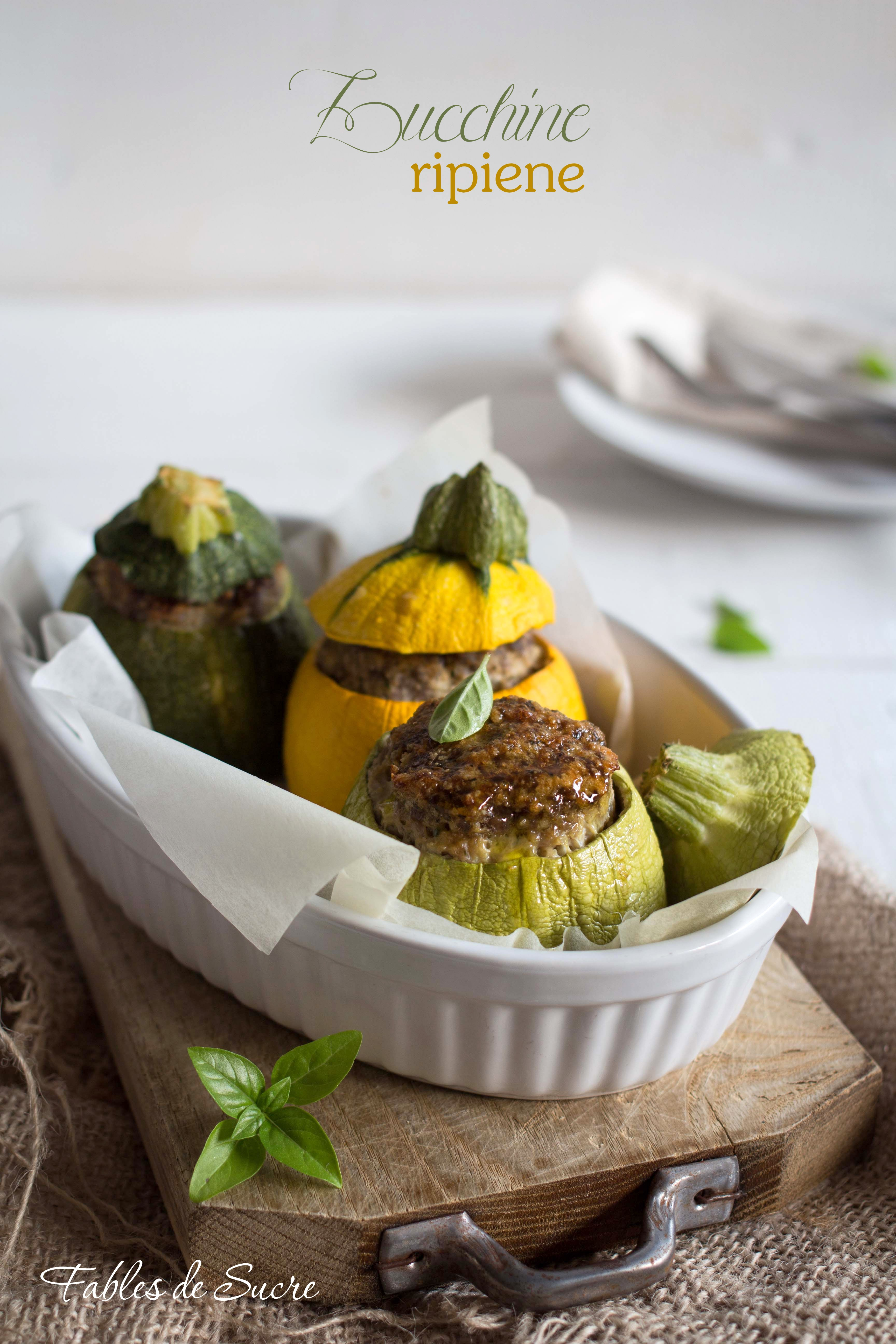 Zucchine tonde ripiene di carne fables de sucre for Cucinare zucchine tonde