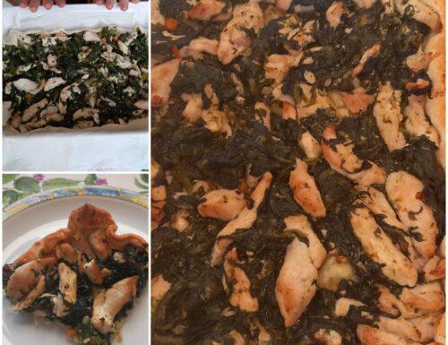 Torta salata con pollo e spinaci