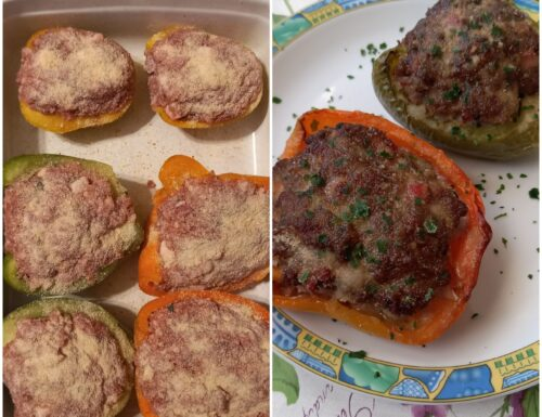 Peperoni al forno ripieni di carne macinata