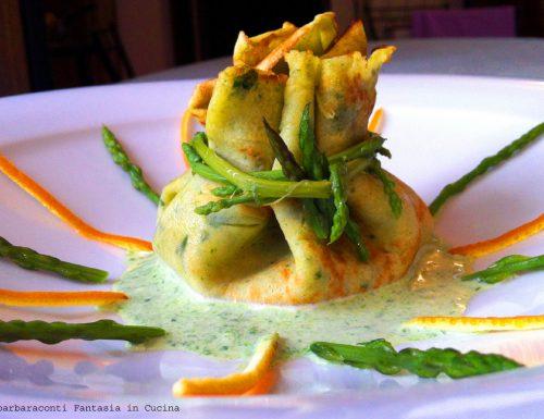 Fagottini di crepes con asparagi e salmone