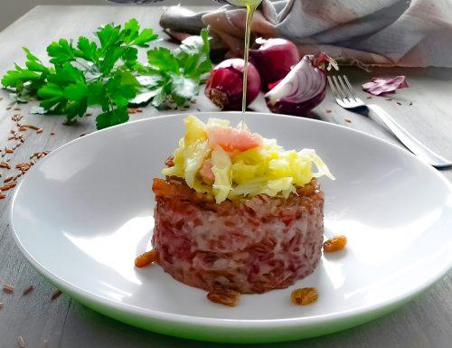 Riso rosso integrale con verza e pancetta
