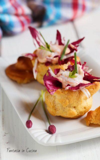 Ricetta : bignè salati con i gamberetti