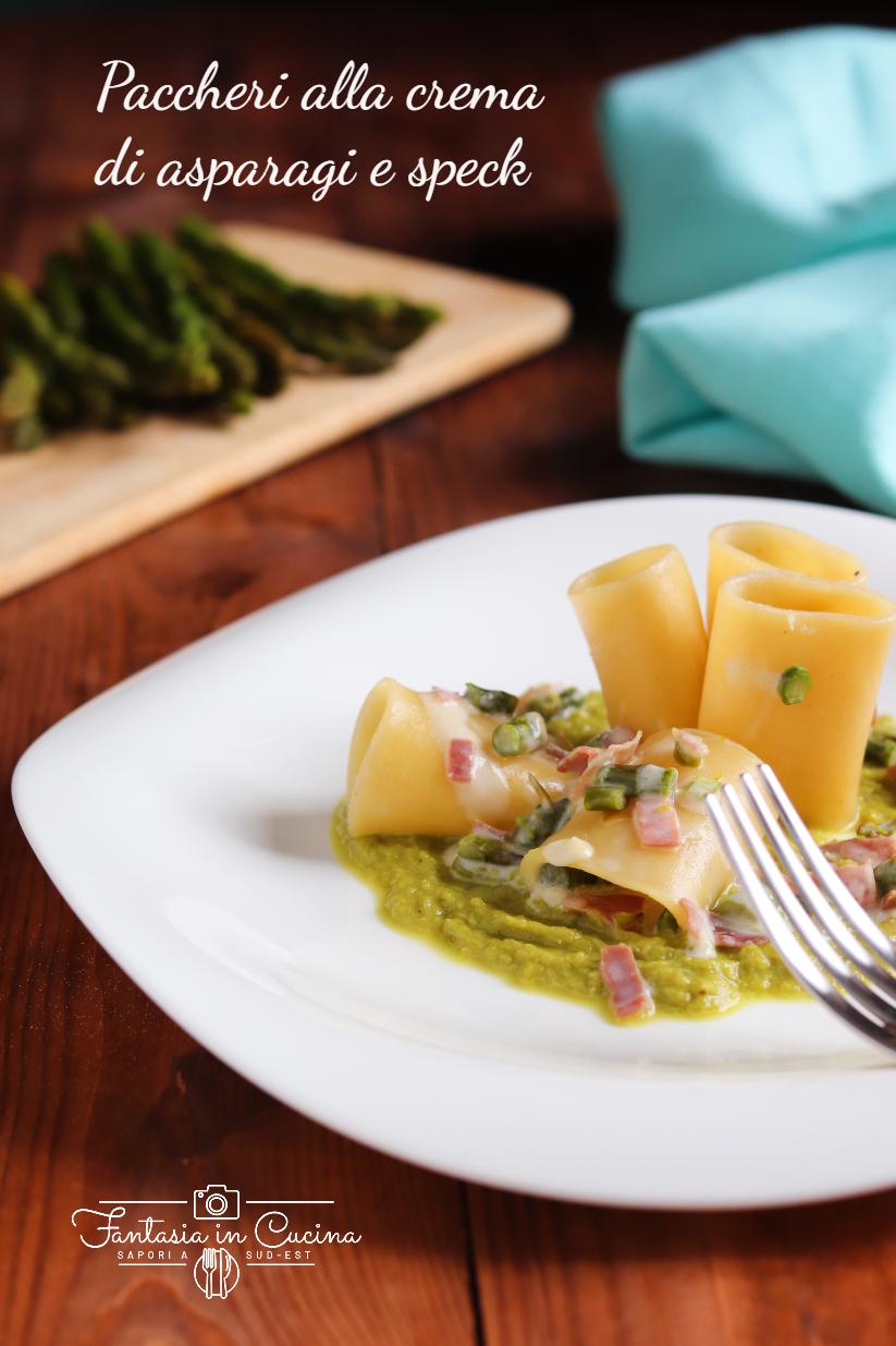 Paccheri alla crema di asparagi e speck