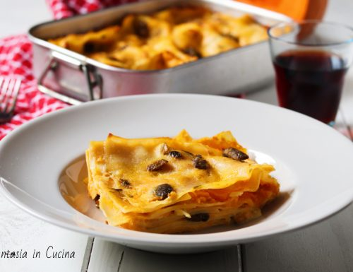 Ricetta lasagne con la zucca e i porcini