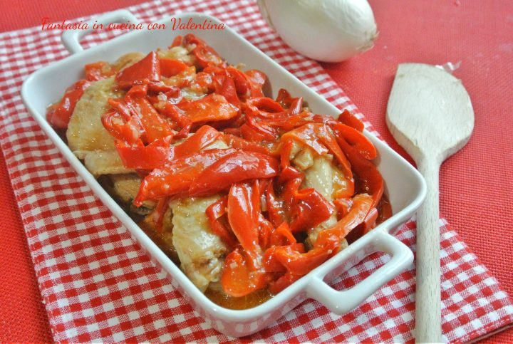 pollo con peperoni rossi