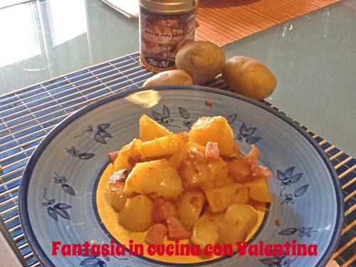 Patate con cipolla, prosciutto e mecis
