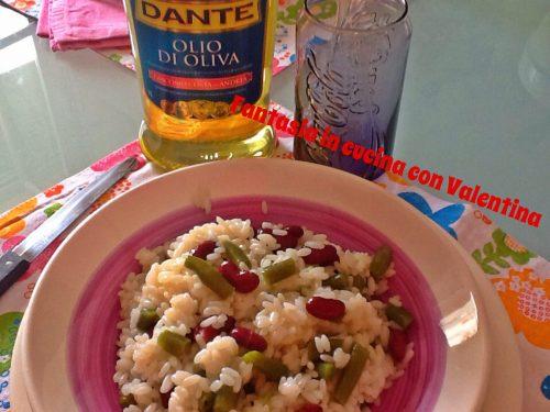 Insalata di riso fagiolini e fagioli rossi