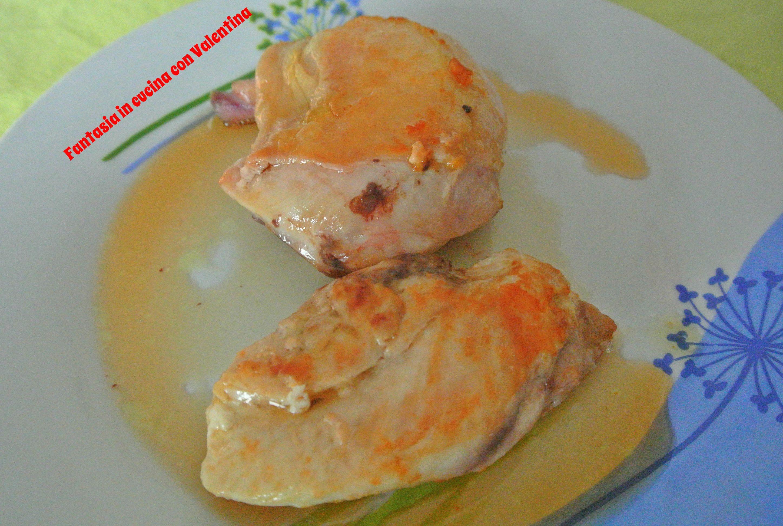 Petto di pollo arrosto con salsa al vino bianco