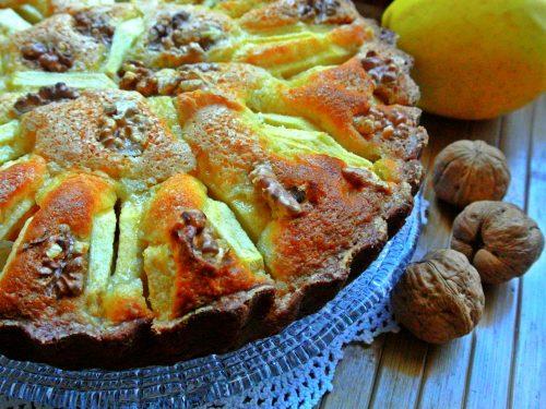 Torta ricotta mele e noci