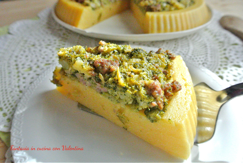 Torta di polenta broccoli salsiccia e formaggi