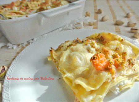 Lasagne ricotta salmone affumicato e pistacchi
