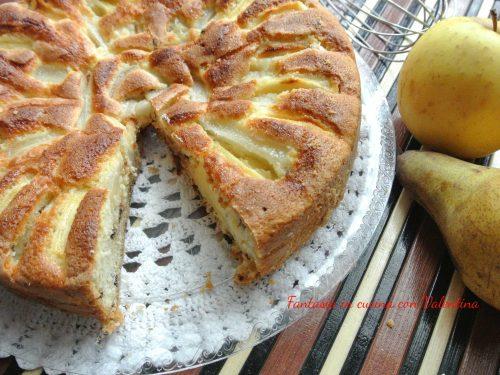 Torta gocciole mele e pere