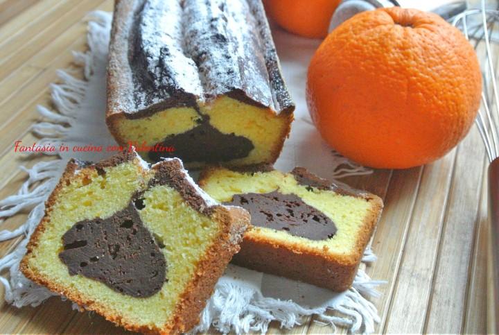 Cake all'arancia con cuore al cacao