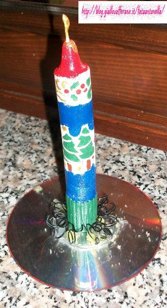 candela decorata bricolage natalizio fata antonella