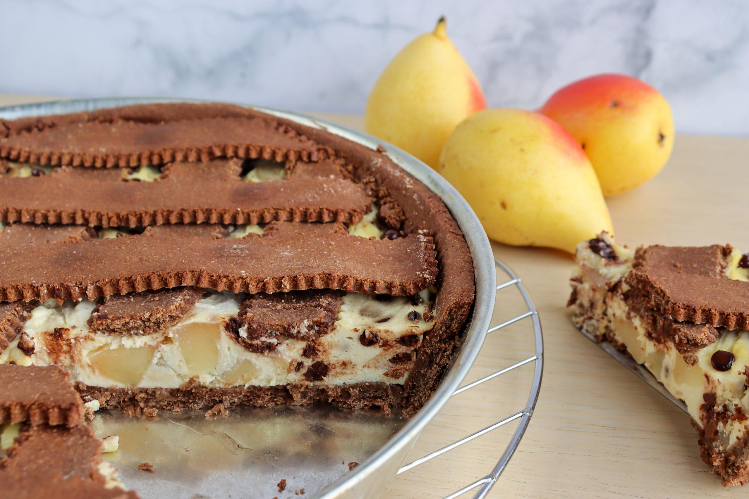 crostata fit ricotta pere e cioccolato fondente