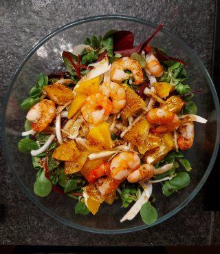 insalata di finocchio, arance e gamberetti