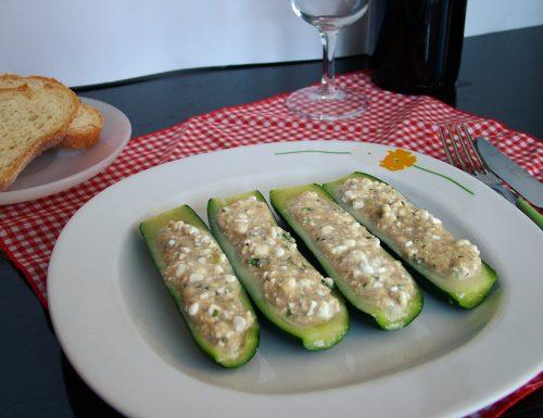 Zucchine ripiene di tonno e fiocchi di latte