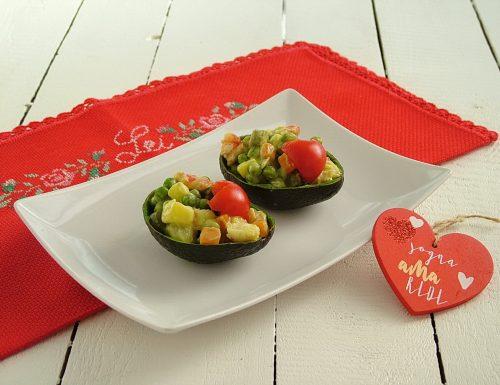 Insalata russa con gamberi e maionese di avocado – antipasto per San Valentino