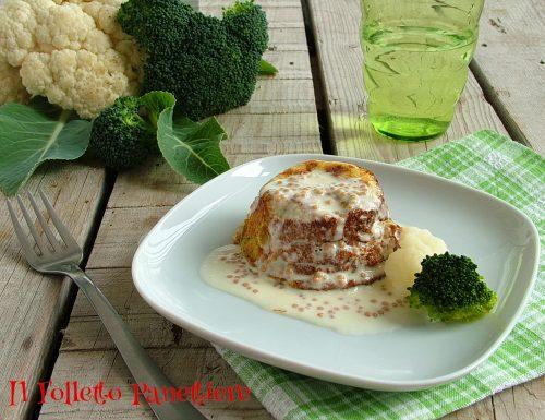 Flan di broccoli e cavolfiori con salsa alla senape