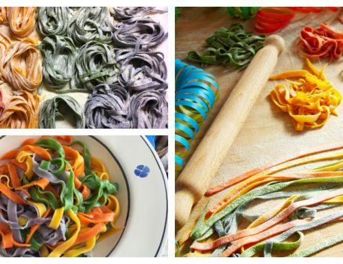 Tagliatelle di Carnevale allegre e colorate
