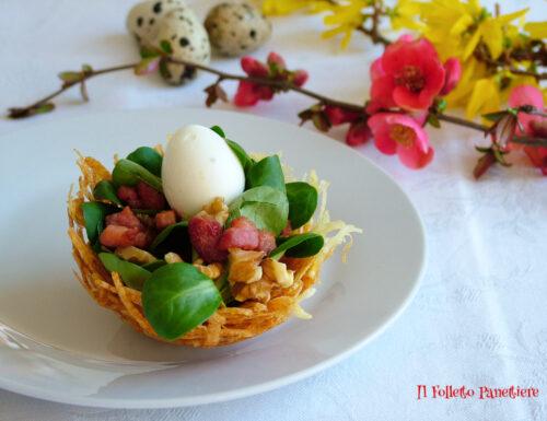 Antipasto sfizioso per Pasqua: nidi di patate con uova di quaglia