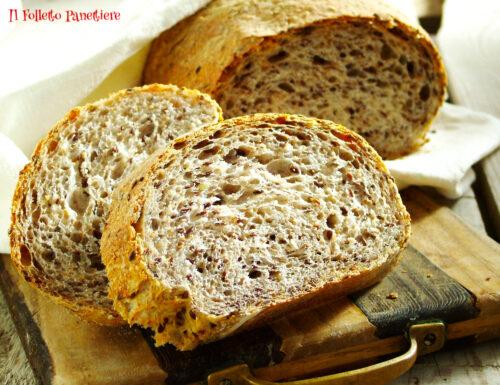 Pane semintegrale ai semi di lino con lievito madre