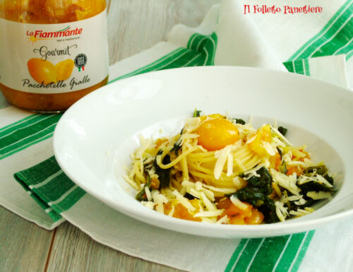 Spaghetti con friarielli e pomodorini gialli