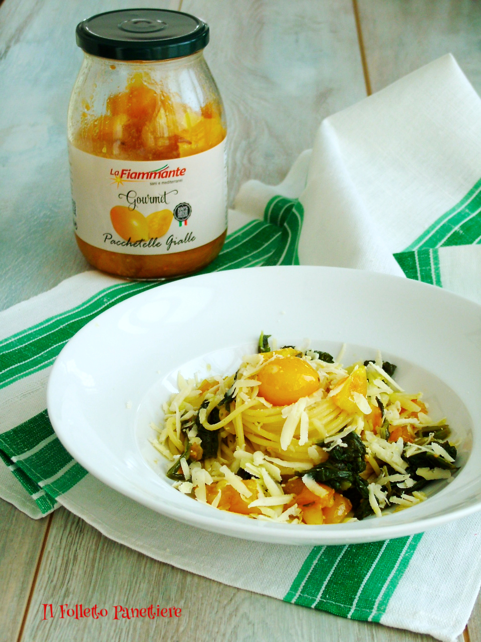 spaghetti friarielli e pomodorini gialli