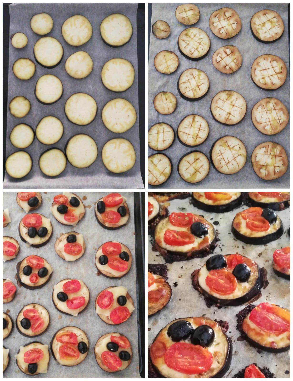 melanzane al forno con provola, pomodori e olive preparazione