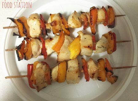 Spiedini di pollo e peperoni (al forno)