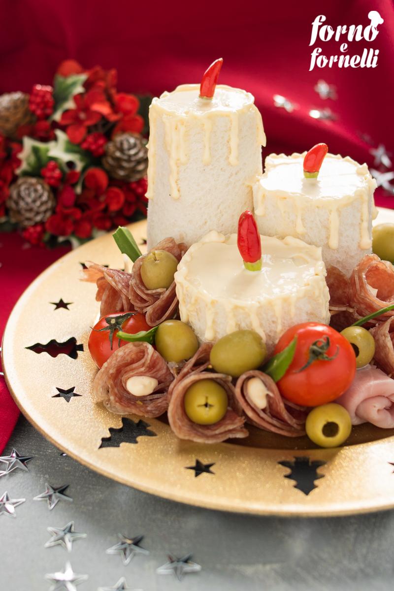 candele di Natale salate di pancarrè