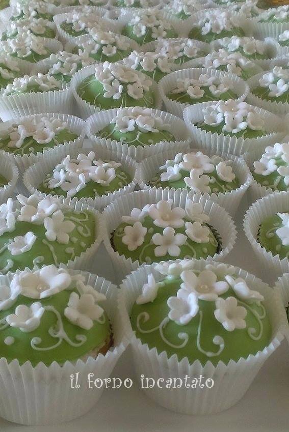 cupcake fiori verdi