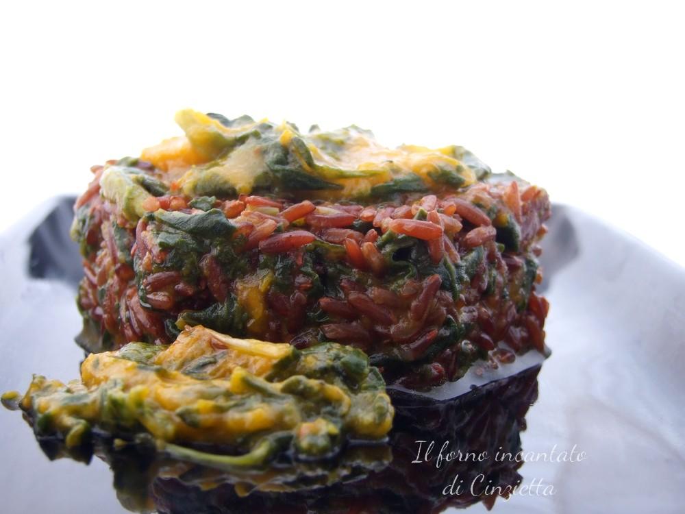 riso rosso zucca e spinaci