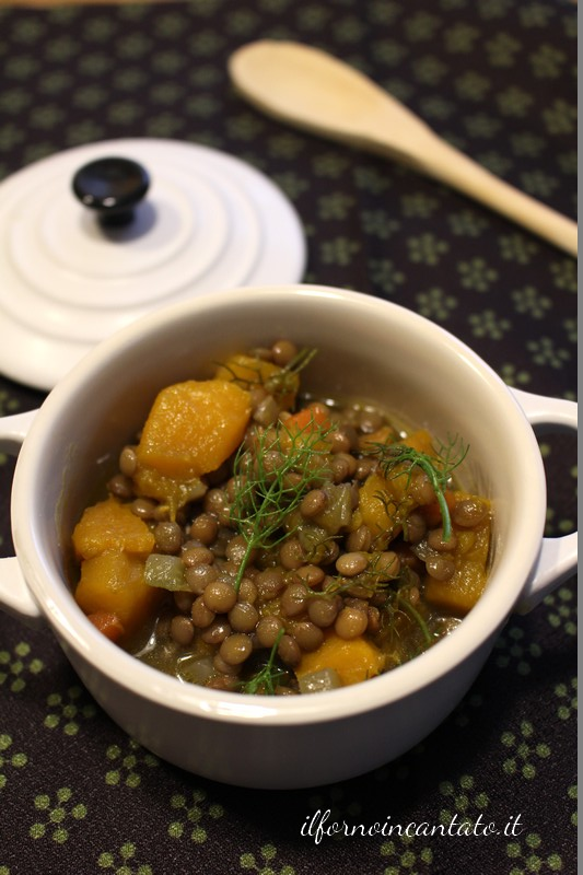 minestra lenticchie zucca e finocchietto