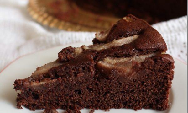 torta moretta e pere, versione senza latticini