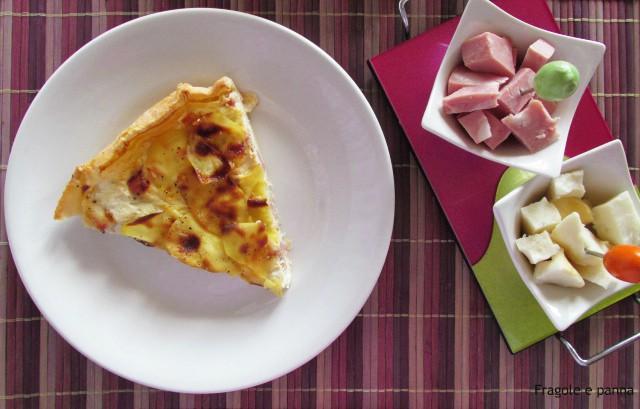 Pizza rustica con ricotta mortadella e sfoglia di patate