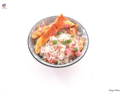 Insalata di riso con frittata al cotto e piselli