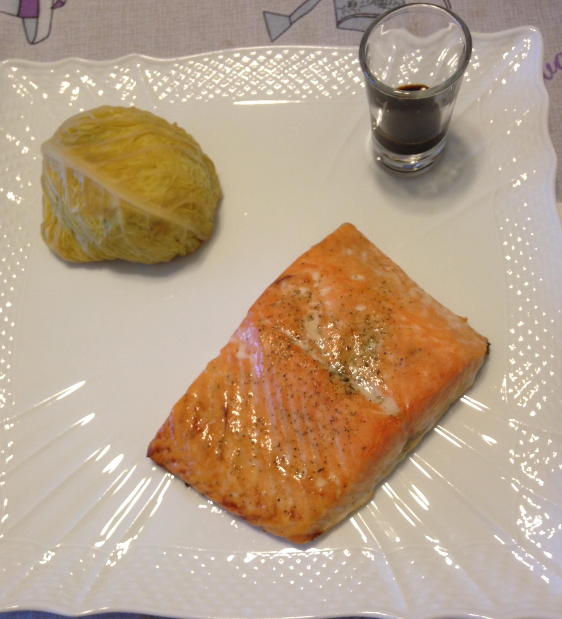 Trancio di salmone con tortino di verza