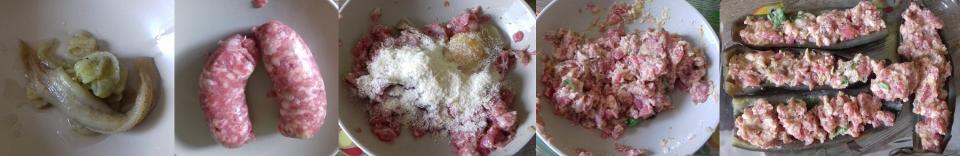 melanzane a barchetta con salsiccia