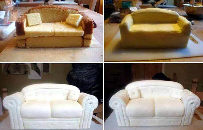 Tutorial tortina divano- Pasta di zucchero
