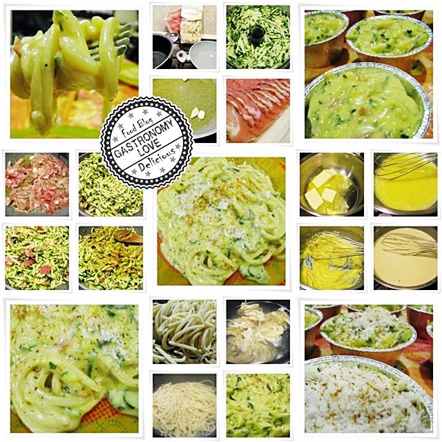 Pici con zucchine, speck e cremoso al curry