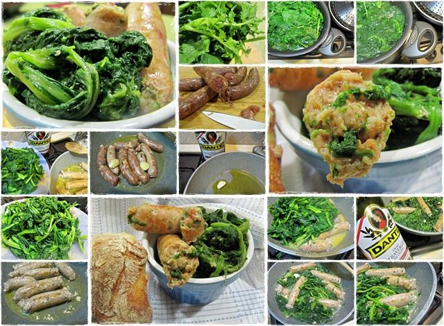preparazione salsicce & cime di rapa