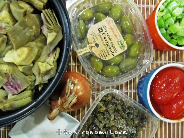 ingredienti caponata di carciofi