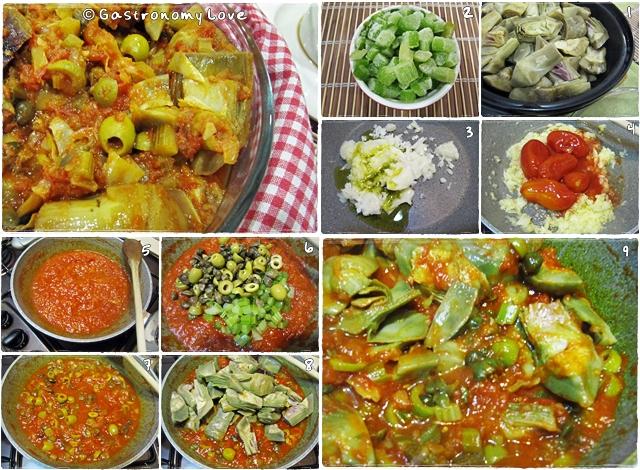 preparazione paso passo della caponata di carciofi alla siciliana