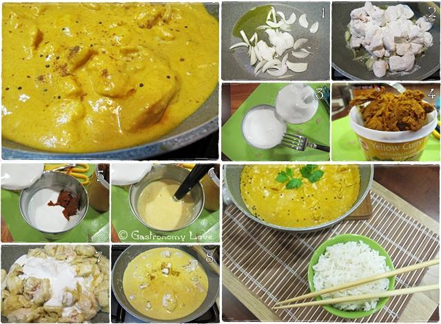 preparazione pollo thai al curry giallo