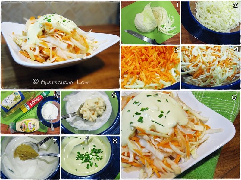 Coleslaw salad: insalata di cavolo cappuccio e carote_preparazione