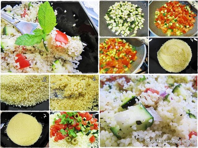 preparazione insalata di cous cous vegana