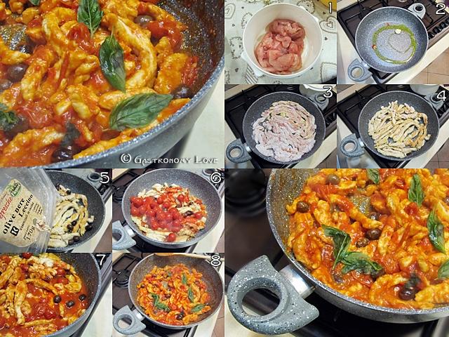 straccetti di pollo alle olive nere_preparazione